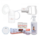 Tiny Touch Manual Breast Pump + Tiny Touch 60pcs Breast Pad + Tiny Touch Milk Storage Combo Pack + Acquassimo Cleasning Water