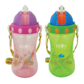 Little Bean 400ml PP Drinking Cup with Belts (Pink & Green)
