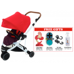 Oyster Gem Stroller - Red FREE Little Bean Safety Fan + Munchkin Snack Pod + SitSafe Swivel Hook + Acquassimo