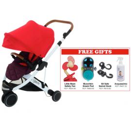 Oyster Gem Stroller - Red FREE Little Bean Safety Fan + Munchkin Snack Pod + SitSafe Swivel Hook + Acquassimo