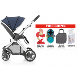 Oyster 2 Mirror Stroller - Oxford Blue FREE Little Bean Safety Fan + Munchkin Snack Pod + Oyster 2 Shell Pack + Acquassimo (2 Bottles)