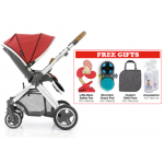 Oyster 2 Mirror Stroller - Red FREE Little Bean Safety Fan + Munchkin Snack Pod + Oyster 2 Shell Pack + Acquassimo (2 Bottles)