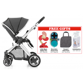 Oyster 2 Mirror Stroller - Tungsten Grey FREE Little Bean Safety Fan + Munchkin Snack Pod + Oyster 2 Shell Pack + Acquassimo (2 Bottles)
